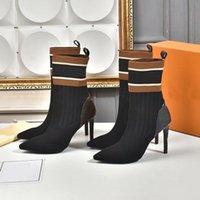 Designer frauen socken stiefel schuhe damen gestrickte elastische booties brief dicke heel sexy frau schuh high heels bootis mode dame highs eheered