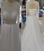 Ivory A-Line Long Sleeve Bridal Gowns with Major Beading Luxury Formal Wedding Dresses Custom Made