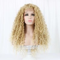 """wig 24''long curling 15'x 4.5 """"Front Swiss Edge Synthetic Prune Natural part Bohemian Height Point Blond Hair wigs for White Women"""