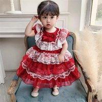 Girl's Dresses Born Infant Birthday Clothing Lace Big Bow Toddler Kids Party Princess Dress Wedding Christmas Clothes For Baby Girl