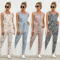 Panther print sleeveless casual Jumpsuit in summer 2021