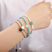 Bijoux naturels populaires fabriqués à la main 4mm turquoise flash flash amitié dame bracelet