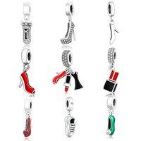 925 Sterling Silber Nette Lippenstift Schuhe Anhänger Perlen Fit Original Pandora Charms Armband Halskette DIY Schmuck Machen Frauen Berlocke
