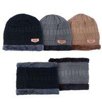 Fashion Hat Men Women Winter Korean Warm Knitted Outdoor Cycling Ear Protection Cap Bib Caps Autumn Wool Soft Plush Thicken Hats Two-piece Set