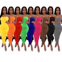 2021 여름 여성용 드레스 루치 Sundress 섹시한 몸매 쉐이핑 발목 길이 비치 Pleated 드레스 우아함 솔리드 파티 클럽 겉옷