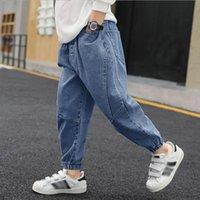 Jeans Autumn Teenager Boy 3-12 Years Big Child Loose Trousers Kids Fashion Trend Streetwear Letter Print Denim Pants