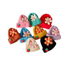 Kids Hats Girls Caps Autumn Winter Baby Hat Wool Crochet Knitted Beanie Cap Warm Accessories Sweet Big Flowers Children Wear 2-6Y B8709