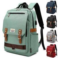 USB interface Nylon Computer Laptop Notebook Backpacks Bags Case School Backpack for Men Women Student