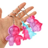 Gradient Pressure Relief Toy Cartoon Silicone Toys Christma Xmas Tree Shape Fidget Bubble Key Ring Kids Squeeze Keychain Free DHL