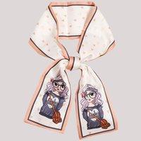 Bufandas de la versión coreana Imitación Impresión de seda de dibujos animados niña pequeña bufanda delgado dama linda doble cinta multifuncional F52