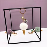 Ice cream keychain Party Favor designer cute bag cartoon plush pendant cone car key chain ring hair ball creative gift top selling