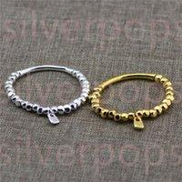 Spanien Smycken Fashion Sliver och Gold Ball Pärlor Round Tube Lock Charm 19cm Elastiskt Armband för män Kvinnor Gåvor Armband