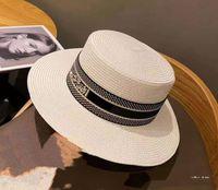 Plaj Moda-Dokuma Güneş Geniş Dikilen Şapka Moda Büyük Saman Kapağı Ebeveyn-Çocuk Düz-En Visor Dokuma Kapaklar Çim Örgü Şapka