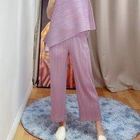 Женские брюки CAPRIS CHANGLEAT 2021 Летние Женщины Широкая нога Мияк Плиссированные твердые Эластичные талии Большой Размер Женский Прямой Tide P4355346
