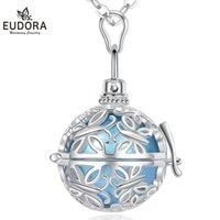Eudora 20mm Harmonia Bolka Ball Okrągły Doraz Klatka Medalionowa Z Kolorowe Ringing Chime Wisiorek Ciąża Kobiety Biżuteria K136 Naszyjniki