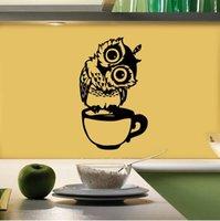 Bonito dos desenhos animados animal coruja copo restaurante restaurante decorativo adesivo de parede removível adesivos à prova d'água