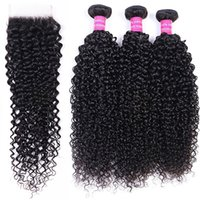 10A Brazilian 3 Bundles with Lace Closure Frontal Brazilian Kinky Curly Water Loose Wave Weaves Human Hair Extensions