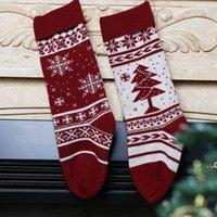 Party Supplies 46cm Snowflake Knitting Christmas Stocking Gift candy bag xmas Tree Holiday Stocks Indoor Decoration FWB8897