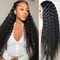 Lace Wigs Deep Wave Frontal 13x6 Curly Human Hair Wig For Women 30 32 Inch 180% Transparent HD
