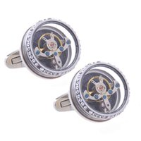 Diamond Tourbillon Movement 1 Pair Set For Mens Wedding Mechanical Watch Gear Shirt Cuff Sleeve Suit Cufflinks