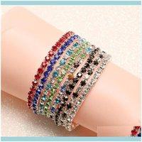 Tennis Bracelets Jewelrytennis Fashion Rhinestone Stretch Bracelet Bangle Bridal Wristband Wedding Gifts Crystal Shining Bangles 1247 Q2 Dro