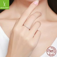 WOSTU Genuine 100% 925 Sterling Silver Simple Geometric Round Single Stackable Finger Rings For Women Engagement Jewelry 983 T2