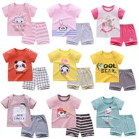 2Set Summer Cotton Children Shorts Suit T-shirt Pant Sets Baby Boy Girl Clothes Kids Cute Cartoon Infant Leisure Casual Clothing