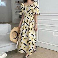 2021 Summer New Korean Fashion Temperament Printing Square Collar Puff Sleeve Draw Back Women's Dress Loose Casual