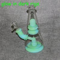 Glow in the dark Hookahs Dab Rigs with bowls Smoking Glass Nectar Collector Premium Tobacco Bag Set Wax Container Silicone bong