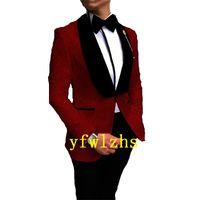 Handsome Embossing Groomsmen Shawl Lapel Groom Tuxedos Men Suits Wedding Prom Man Blazer ( Jacket+Pantst+Tie) Y327