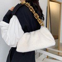 Faux Pelz Frauen Umhängetasche Winter 2021 Weiche und warme kleine Handtaschen Marke Trendkette Brieftaschen Taschen