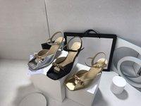 Sandales de talon hauteur classique en cuir de cuir épais Chaussures pour femmes Chaîne en métal 7cm Highs Highs Talons Boucle de ceinture Boucle Sexy Mesdames