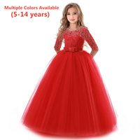 Spring Summer Princess Edge Girls Dress Kids Flower Celebration Wedding Evening gown For Girl Baldress Children Formal dresses 210429