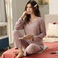 2 unids / set mujeres pijamas conjuntos de otoño primavera 100% algodón ropa de dormir sólido colores con cuello en V manga larga pijamas hembra en el hogar M-XXXL