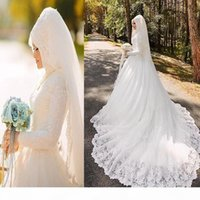2019 Luxury Arabic Muslim Wedding Dresses Bridal Gowns Long Sleeve with Hijab Veil Lace Bride Vestido De Noiva