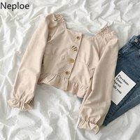 Neploe Kadınlar Streetwear Bluz Bahar 2020 Yeni Katı Kare Yaka Flare Kol Düğme Blusa İnce Vahşi Chic Kadın Moda Gömlek 24KT #