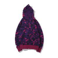 21SS 유럽 및 미국 패션 인쇄 까마귀 위장 카디건 클래식 가을 겨울 얇은 남성 여성 재킷 후드와 함께
