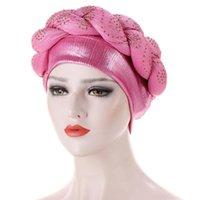 Turban Hijab Caps Aso Oke Gele Gele Berretto africano Cap Headtie già realizzato Musulmani Sciarpa testa avvolgere Cappello da donna Auto Beanie / teschio
