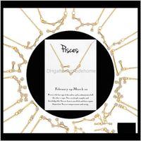 Pendant Necklaces & Pendants Drop Delivery 2021 12 Constellation Zodiac Sign Necklace Horoscope Zircon Korean Jewelry Star Galaxy Libra Astro