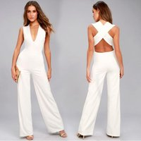 Blanco Casual moda mujer ropa de verano mono de verano Pierna ancha Pierna de pierna sin respaldo V cuello cuerpo feminino mamelucos
