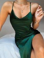 Women's suspender dress solid color V-neck sleeveless sexy backless slim dress NO.4S