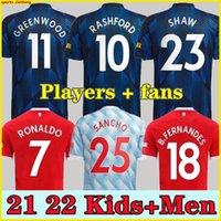 Ronaldo 21 22 Sancho Rashford Jerseys 2021 2022 맨체스터 Pogba 무술 쇼 밴 드 Beek B. Fernandes Lingard United Greenwood Utd 축구 축구 셔츠 맨 어린이 키트