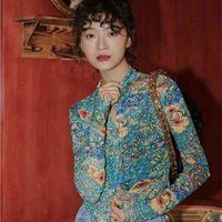 CHEERART Fall Women Mesh Dragon Print Shirt Long Sleeve Top Button Up See Through Top Fashion Designer Clothing