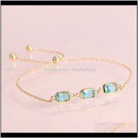Inne biżuteria Blue Blue Topaz CZ 925 Sterling Sier Link Bransoletki Yellow Gold Color Gemstone Fine Jewelry Regulowany Bransoletka dla kobiet