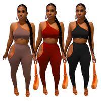 Women Tracksuit one shoulder 2 piece set strapless grop top+leggings solid color sportswear summer clothing jogger suit S-XXL