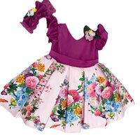 Girls Dresses Children Clothing Kids Clothes Flower Formal Baby Dress Princess Wear Bow Print Holiday Christmas Party B8528