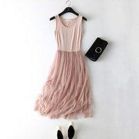 섹시한 스파게티 스트랩 패치 워크 메쉬 드레스 봄 여름 여성 거즈 레이스 탱크 드레스 기본 Sundress 파티 Vestidos LM22
