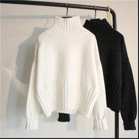Suéter para mujer Punto grueso Mujeres Jerseys Sólido Puentes Casuales Turtimeneck Manga Larga Otoño Invierno Pull Sweter Damski