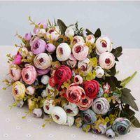 Dekoratif Çiçekler Çelenkler 10 Kafa / 1 ADET Ipek Çay Gül El Yapımı DIY Düğün Noel Ev Dekorasyon Süsler Pogny Set Yapay