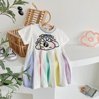 2021 детские девочки одежда платье с коротким рукавом O-образным вырезом Единорога радуга плиссированные дизайн находки дети летняя одежда платья